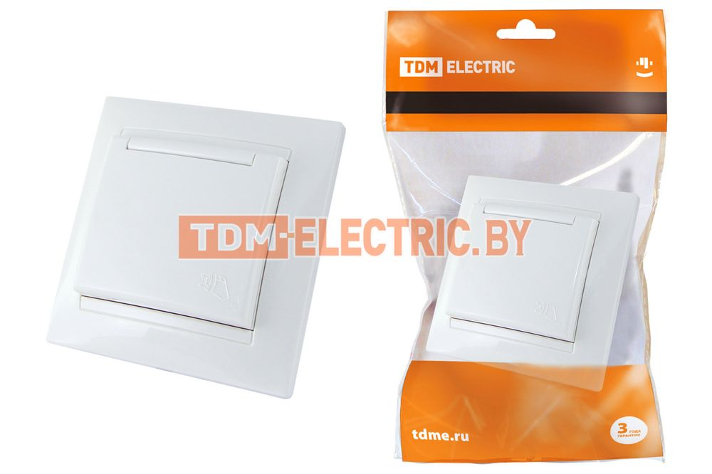 Розетка 2П+З 16А 250В IP44 с защ. шт. с крышкой белая  Лама  TDM SQ1815-0014 TDM Electric